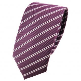 Schmale TigerTie Krawatte pflaume violett silberweiß schwarz gestreift - Schlips