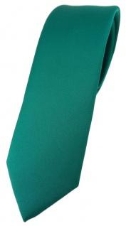 schmale TigerTie Designer Krawatte in petrolgrün einfarbig Uni - Tie Schlips