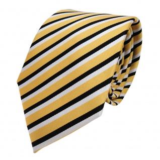 TigerTie Designer Krawatte - Schlips Binder gold schwarz weiß gestreift - Tie