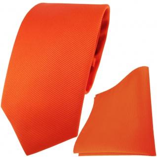 TigerTie Designer Krawatte + Einstecktuch orange leuchtorange einfarbig uni Rips