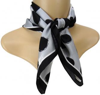 TigerTie Seiden Nickituch Satin in schwarz grau weiss gepunktet - Gr. 50 x 50 cm