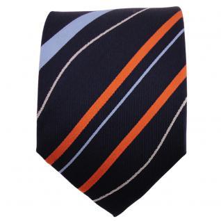 TigerTie Seidenkrawatte orange blau royal silber gestreift - Krawatte 100% Seide - Vorschau 2