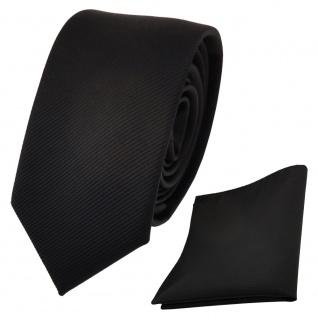 Schmale Designer TigerTie Krawatte + Einstecktuch schwarz Uni Rips - Binder Tuch