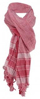 Halstuch in rot weiß fein kariert Gr. 200 cm x 50 cm - Tuch Schal Baumwolle
