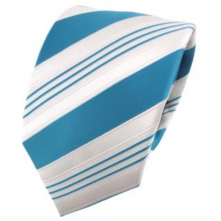 TigerTie Satin Krawatte türkis wasserblau weiß silber gestreift - Binder Schlips