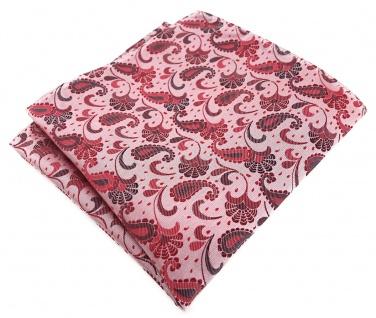 TigerTie Designer Einstecktuch in rot weinrot rosa anthrazit Paisley gemustert