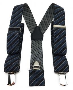 TigerTie Unisex Hosenträger 3 extra starken Clips - graublau schwarz gestreift