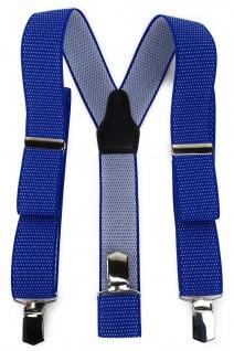 TigerTie Unisex Hosenträger mit 3 extra starken Clips -blau royal weiß gepunktet