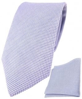 TigerTie Krawatte Pique + Einstecktuch aus 100% Baumwolle blau-weiss gemustert