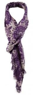 TigerTie Schal in lila grau gemustert mit kleinen Fransen - 180 x 40 cm