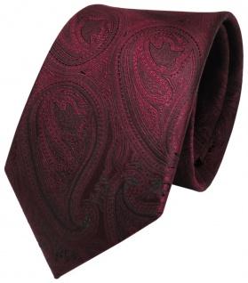 TgerTie Seidenkrawatte rot weinrot schwarz paisley - Krawatte 100% Seide
