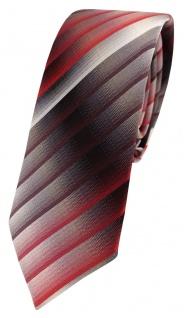 schmale TigerTie Seidenkrawatte in rot weinrot grau silber anthrazit gestreift