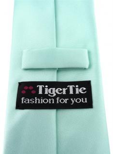 TigerTie Satin Krawatte + TigerTie Einstecktuch in mint grün Uni einfarbig - Vorschau 2