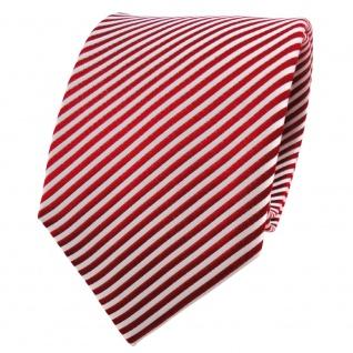 TigerTie Seidenkrawatte rot signalrot silber weiß gestreift - Krawatte Seide