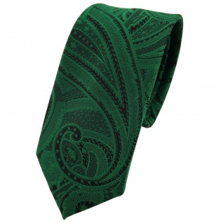 schmale TigerTie Krawatte grün smaragdgrün schwarz Paisley - Krawatte Tie - Vorschau 1