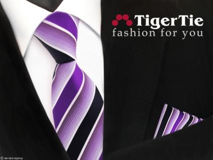 TigerTie Krawatte + Einstecktuch in lila violett dunkelblau weiß gestreift