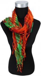 Halstuch in orange rot weinrot grün braun beige kariert mit Fransen - 80 x 80 cm