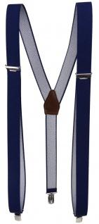 schmaler Hosenträger marine dunkelblau Uni mit Clip - verstellbar 75 bis 120 cm - Vorschau 1