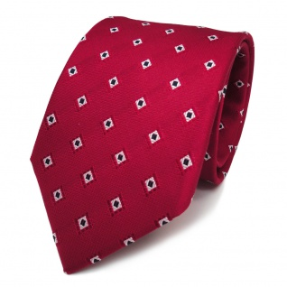 Designer Seidenkrawatte rot karminrot silber gemustert - Krawatte Seide Binder