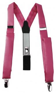 schmaler TigerTie Unisex Hosenträger mit 3 extra starken Clips - in hellpink Uni