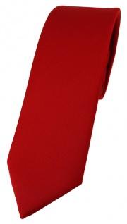 schmale TigerTie Designer Krawatte in rot einfarbig Uni - Tie Schlips
