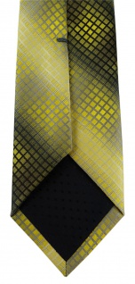 schmale TigerTie Designer Krawatte in gelb gold silber grau schwarz kariert - Vorschau 4