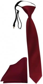 TigerTie Security Sicherheits Krawatte + Einstecktuch in bordeaux einfarbig Uni