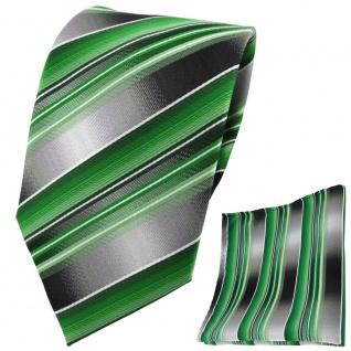 TigerTie Krawatte + Einstecktuch grün silber anthrazit grau gestreift - Tuch