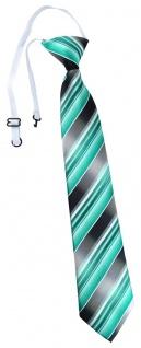 TigerTie Security Sicherheits Krawatte mint grün silber anthrazit grau gestreift