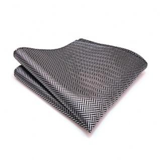3er Set TigerTie Krawatte + Einstecktuch + Box in grau silber gestreift - Vorschau 3