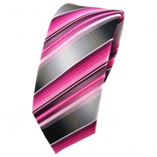 schmale TigerTie Krawatte rosa pink magenta anthrazit silber gestreift - Binder