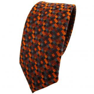 Schmale TigerTie Krawatte orange rotorange schwarz anthrazit grau gemustert
