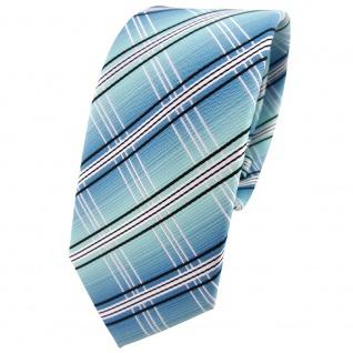 schmale TigerTie Designer Krawatte in türkis mint silberweiss schwarz gestreift