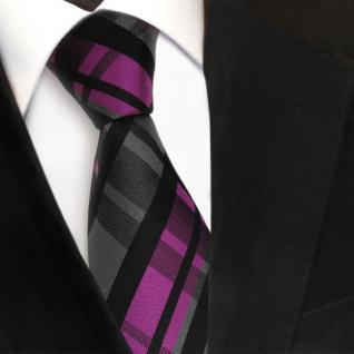 TigerTie Seidenkrawatte magenta lila anthrazit schwarz kariert - Krawatte Seide