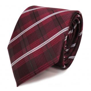 Designer Krawatte rot weinrot grau schwarz gestreift - Schlips Binder Tie