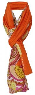 Damen Schal orange pink gelb weiß mit Paisley Muster - Gr. 180 x 100 cm