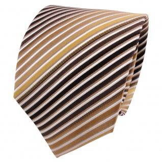 TigerTie Seidenkrawatte gold braun dunkelbraun weiß gestreift - Krawatte Seide