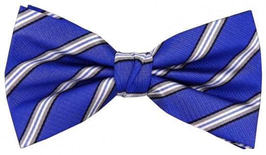 TigerTie Designer Seidenfliege blau grau silber schwarz gestreift - Fliege Seide