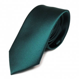 schmale TigerTie Satin Krawatte grün petrol dunkles türkis uni 100 % Polyester