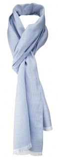 TigerTie Unisex Schal Pique in blau-weiss uni gemustert - Größe 180 x 28 cm