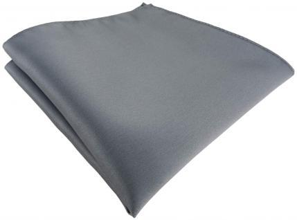 TigerTie Satin Einstecktuch in silber einfarbig Uni - Größe 26 x 26 cm