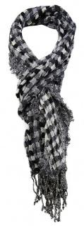 TigerTie Schal in grau schwarz silber gemustert - Größe 180 x 40 cm