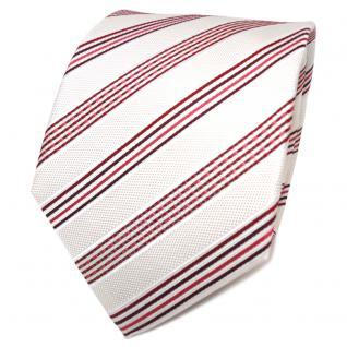 TigerTie Designer Seidenkrawatte creme weiß rot bordeaux gestreift - Krawatte - Vorschau 1