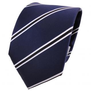 TigerTie Krawatte blau dunkelblau royal schwarz weiß gestreift - Schlips Binder