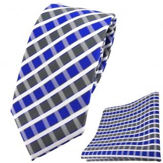 schmale TigerTie Krawatte + Einstecktuch in blau grau silber weiss gestreift