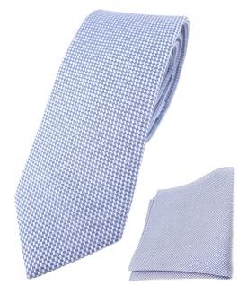 schmale TigerTie Krawatte Pique + Einstecktuch Baumwolle blau-weiss gemustert