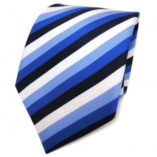 TigerTie Designer Krawatte blau marine royal weiß pastellblau gestreift - Binder