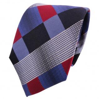 TigerTie Designer Seidenkrawatte blau rot silber kariert - Krawatte Seide Silk