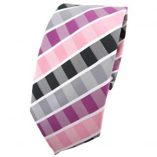 Schmale TigerTie Krawatte rosa rotviolett grau anthrazit weiß gestreift - Binder