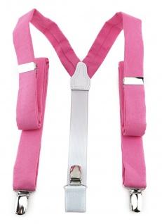 schmaler TigerTie Unisex Hosenträger mit 3 extra starken Clips - rosa pink uni